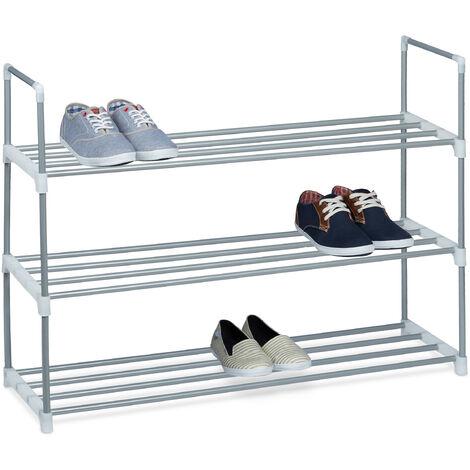 1 x Schuhregal Metall, 3 Ablagen, beliebig erweiterbar, Schuhablage für 12 Paar Schuhe, HBT: ca 70 x 90 x 31 cm, silber