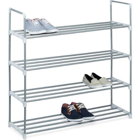 1 x Schuhregal Metall, 4 Ablagen, beliebig erweiterbar, Schuhablage für 16 Paar Schuhe, HBT: ca 93 x 90 x 31 cm, silber