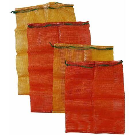 1 x Strong log mesh bags kindling sack vegetable net poly mesh carry woven orange