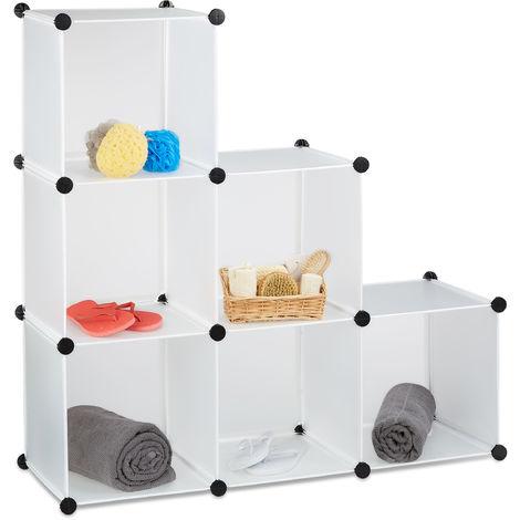 1 x Stufenregal 6 Fächer, Steckregal als Kleiderschrank oder Raumteiler, offenes Regalsystem, HBT 110 x 110 x 35cm, weiß