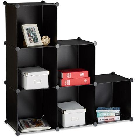 1 x Stufenregal 6 Fächer, Steckregal als Kleiderschrank oder Raumteiler, offenes Regalsystem, HBT 110x110x35cm, schwarz