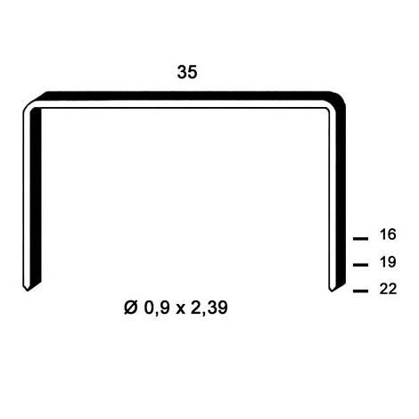 10 000 agrafes cuivrées B-19 - 35 x 19 x D. 0,9 x 2,39 mm - 6B-191 - Alsafix - -