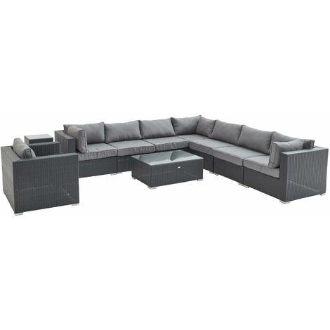 10-11 seater rattan garden sofa set – Venezia black / grey