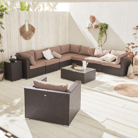 10-11 seater rattan garden sofa set – Venezia chocolate / ecru