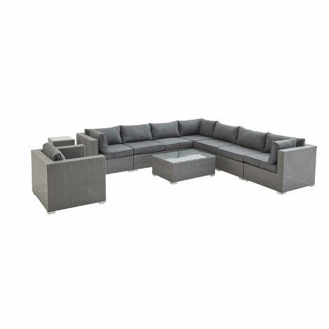 10-11 seater rattan garden sofa set – Venezia grey / grey