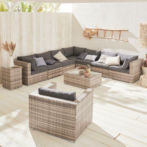 10-11 seater rattan garden sofa set – Venezia Mixed grey