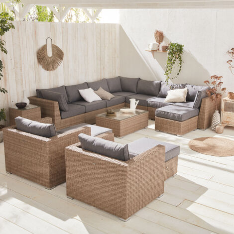 10-14-seater round rattan garden sofa set - Verona