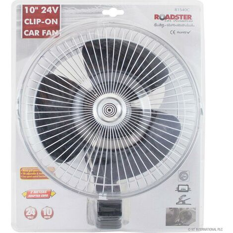 """main image of """"10"""" 24V CLIP ON CAR OSCILLATING FAN CABLE SPEED CONTROLLER TRUCK VAN COOLING NEW"""""""
