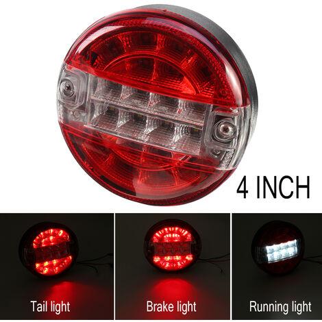 10-30V feu arrière rond Hamburger LED pour lampe camion camion voiture fourgon remorque (rouge et blanc) (blanc, 1pc)