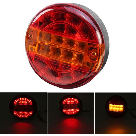10-30V feu arrière rond Hamburger LED pour lampe camion camion voiture van remorque ambre