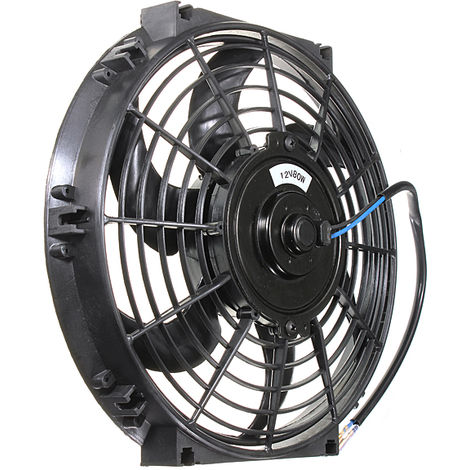 10 '' 80W Electric Car Heater Intercooler Slim Push / Pull Cooling Fan Black