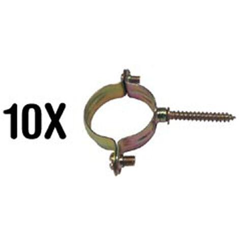 10 abrazaderas con tirafondo 18mm