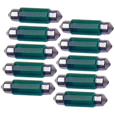 10 Ampoules Navettes - 12V - 10W - T11 - 35mm - Vert - C5W