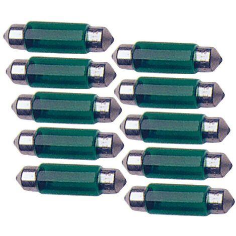10 Ampoules Navettes - 12V - 10W - T11 - 41mm - Vert - C5W - 41mm