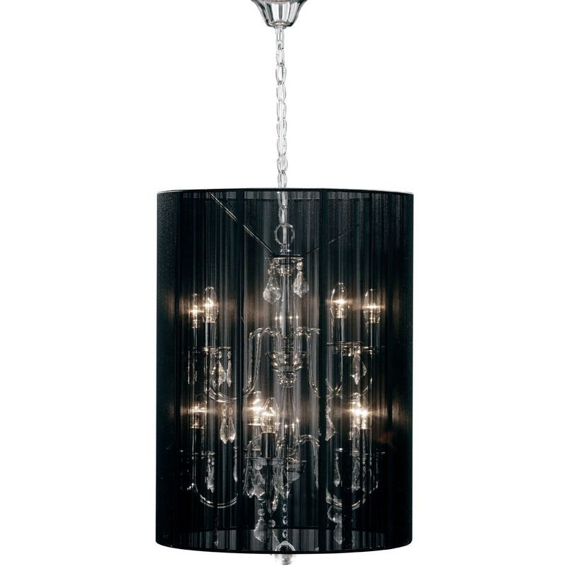Image of 10 Arm Chandelier, Chrome Effect Crystal Glass Droplets, Black String Shade