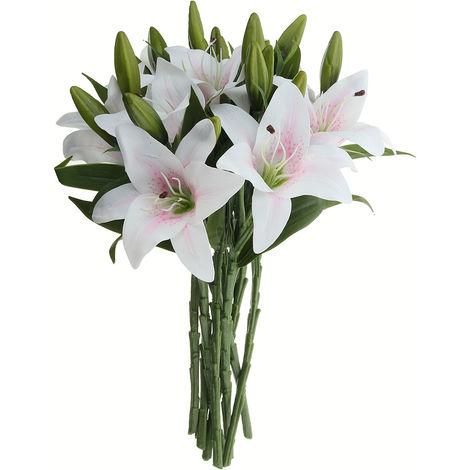 10 Cabeza Real Touch Artificial Lily Fake Flowers Wedding Party Bouquet Decoración para el hogar Rosa Sasicare