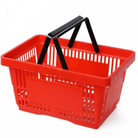 "main image of ""10 cestini spesa cesti in plastica 2 manici cestello 28 lt rosso supermercato"""