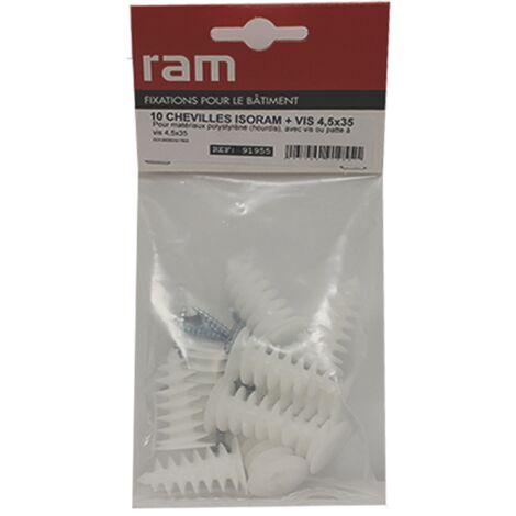 10 chevilles ISORAM avec 10 vis agglo 4,5x35 - Ram