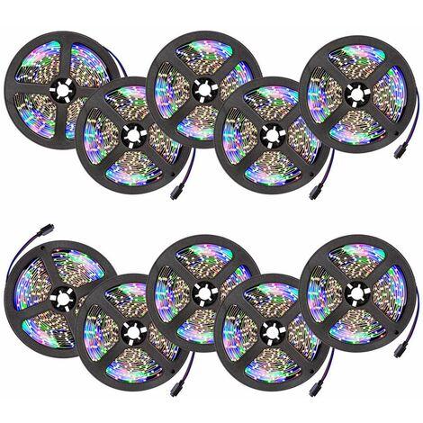 10 cintas LED 5m 300 LEDs - tira de led con pila de litio, tira de luces led de bajo consumo energético, luminarias led de distintos colores - blanco