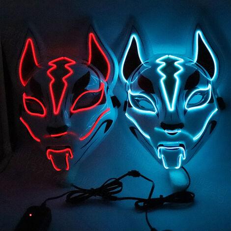 10 couleurs fox masque complet neon lumiere Halloween party abat-jour LED (livresans piles) lumiere rouge