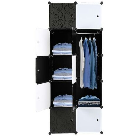 10 Cube Organizer Stackable Plastic Cube Storage Shelves Design Multifunctional Modular Closet Cabinet with Hanging Rod £¬ Black and White