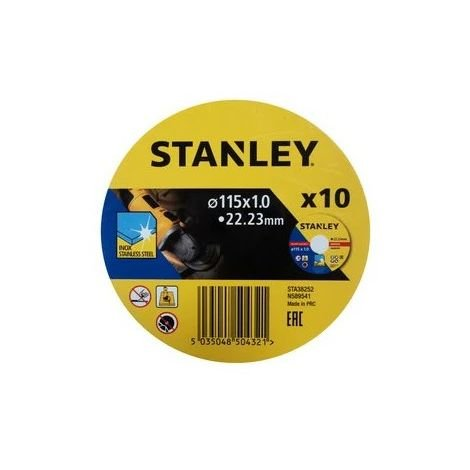 10 discos de corte INOX 115x1.0x22.23mm STANLEY STA38252-XJ (10 unidades)