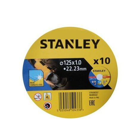 10 discos de corte INOX 125x1.0x22.23mm STANLEY STA38257-XJ (10 unidades)