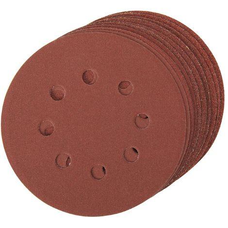10 disques abrasifs perforés auto-agrippants 125 mm Grains assortis : 4 x 60 ; 2 x 80, 120 et 240