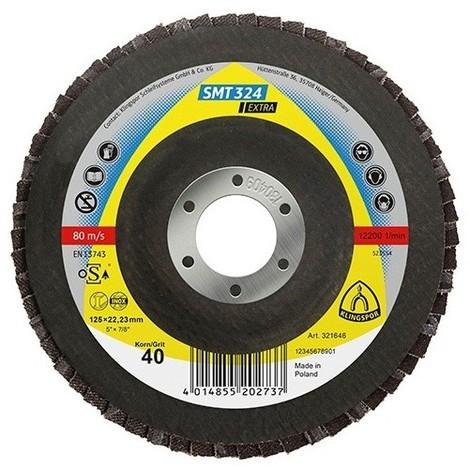 10 disques/plateaux convexes à lamelles zirconium EXTRA SMT 324 D. 115 x 22,23 mm Gr 40 - 321509 - Klingspor - -