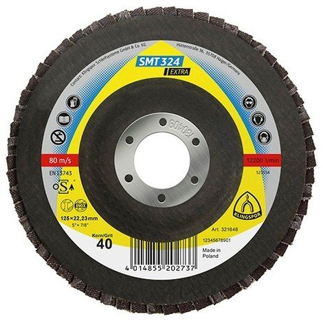 10 disques/plateaux plats à lamelles zirconium EXTRA SMT 324 D. 125 x 22,23 mm Gr 40 - 321646 - Klingspor - -