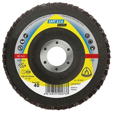 10 disques/plateaux plats à lamelles zirconium EXTRA SMT 324 D. 125 x 22,23 mm Gr 60 - 321648 - Klingspor - -
