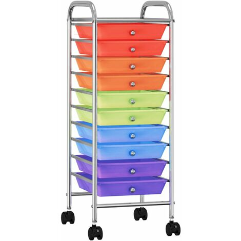 10-Drawer Mobile Storage Trolley Multicolour Plastic