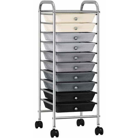 10-Drawer Mobile Storage Trolley Ombre Plastic