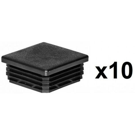 10 Embouts poteaux carrés 100mm plastiques rentrant noir