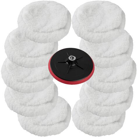 10 esponjas super suaves 220mm + plato rotativo - esponjas suaves para pulidora, set de accesorios para pulir para máquina pulidora, disco atornillable de rotación para pulido - blanco