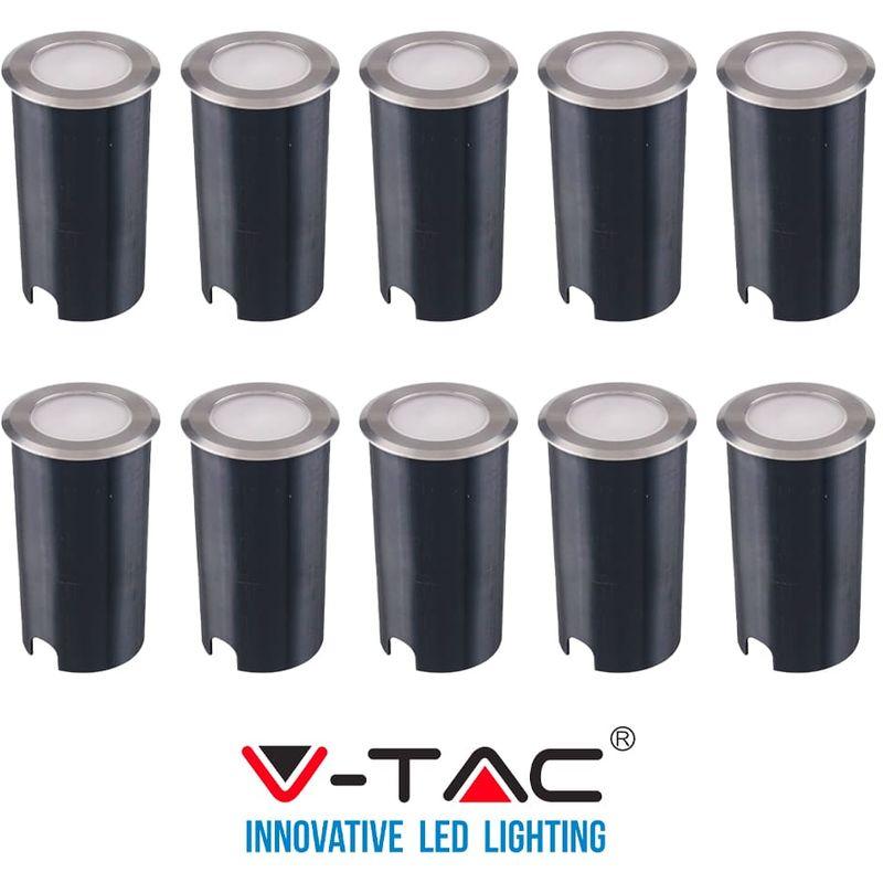 10 Faretti Segnapasso LED 1W V-TAC da Interramento IP67 Freddo VT-1151