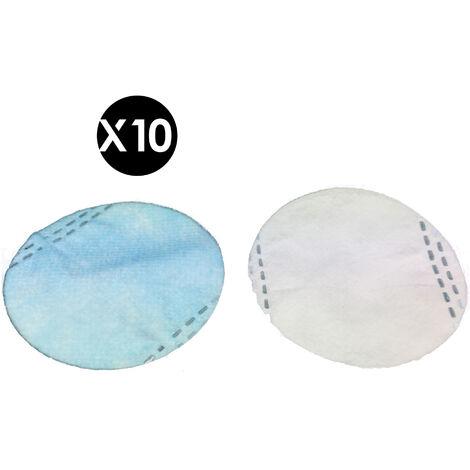 10 filtres FFP2 interchangeables, 4 couches, filtration à 95% particules de 0,3 micron, CE EN 149: 2001 pour masque de silicone réutilisable modèle Epsilon