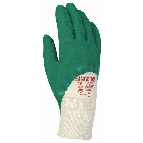 10 gant latex 3-4 enduit support coton cousu poignet tricot sur cavalier - taille 9