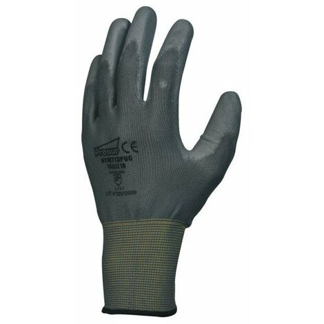 10 gant nylon enduit polyurethane jauge 13 gris poignee elastique taille 9