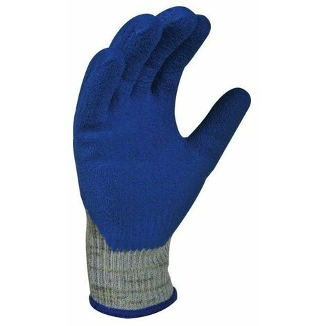 10 Gant support tricote fibre kevlar enduction latex bleu taille 9