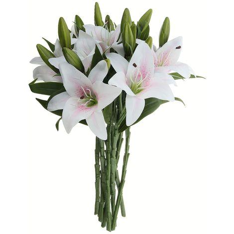 10 Head Real Touch Lily Artificielle Faux Fleurs Bouquet De Soirée De Mariage Decoration D'interieur Rose