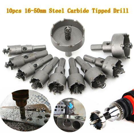 10 HSS Foret Scie Trepan Cloche Carbure Coupeur Alliage Métal Pointe 16-50mm Kit