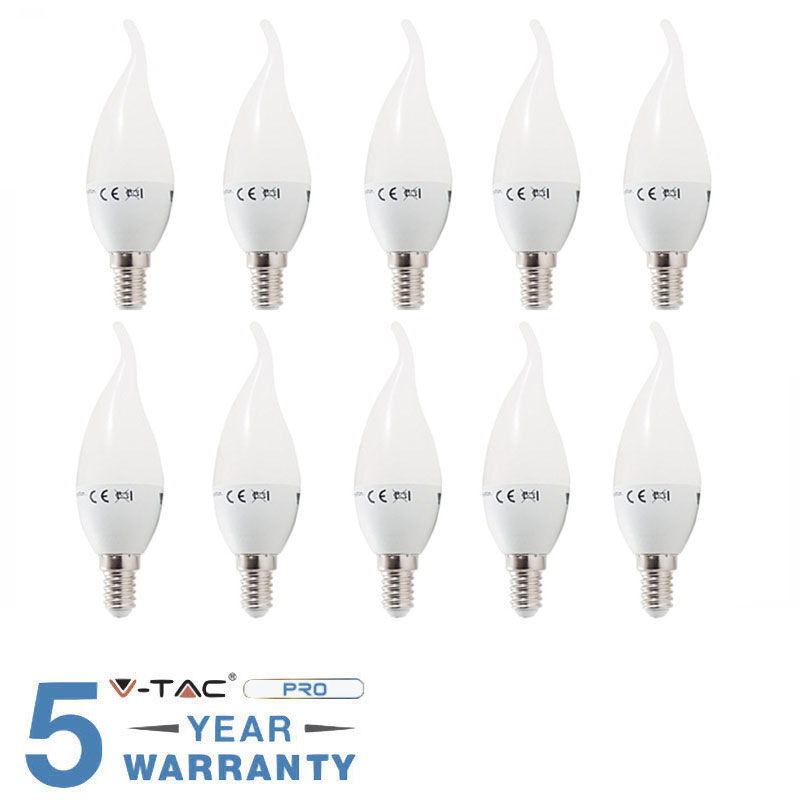10 LAMPADINE LED E14 FIAMMA 4W 30 W V-TAC BULB LAMPADINA LAMPADA COLPO DI VENTO-Calda