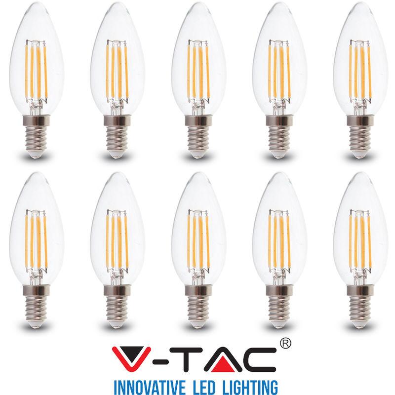 10 LAMPADINE LED E14 FILAMENTO CANDELA 6W V-TAC VT-2127 CALDO FREDDO NATURALE-Calda