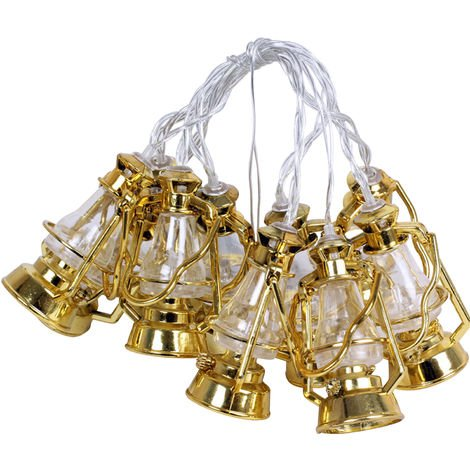 10 LEDs Fairy Lights Lamp Shape String Light 1.65m Warm White Colorful String Lights Gold & Warm White