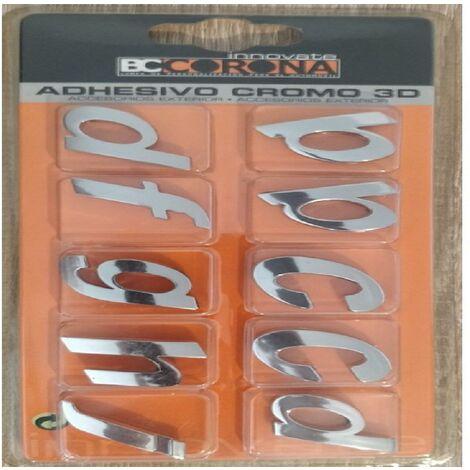 10 Lettres Chromees 3D Adhesives -KLMNP- N3 - BC Corona