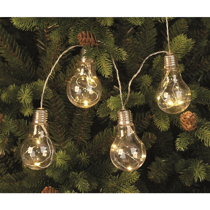 Image of 10 Light Bulb with Warm White Led Wire Lights on a String - Battery Powered
