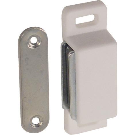 10 Loqueteaux rectangles magnétiques 3kg plastique blanc