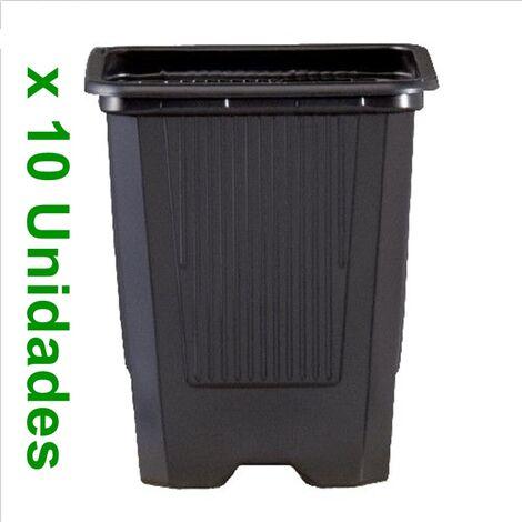 10 Macetas Semillero Cuadrada de Plástico para Cultivo. 7X7X6,5 Cm (0,19L) 10 Unidades