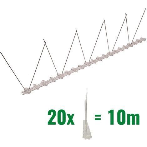 10 mètre pics anti pigeons 1 rangées en polycarbonate - solution de qualité pour contrôle des oiseaux